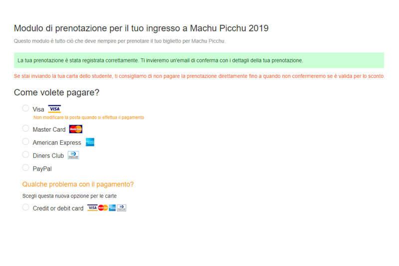 Pagamento Biglietto Machu Picchu